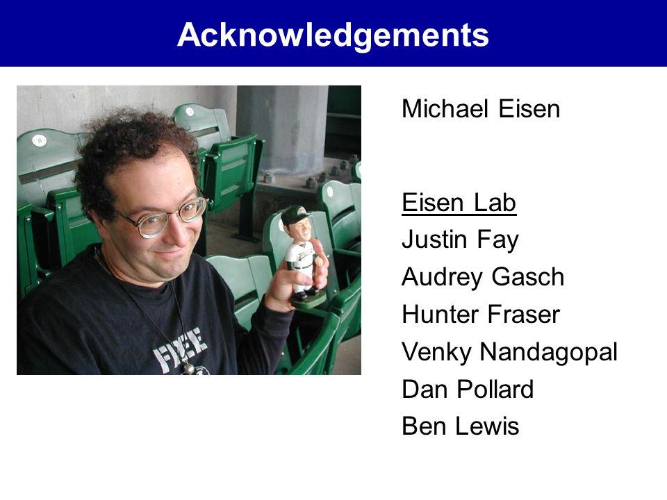 Acknowledgements Michael Eisen Eisen Lab Justin Fay Audrey Gasch Hunter Fraser Venky Nandagopal Dan Pollard Ben Lewis
