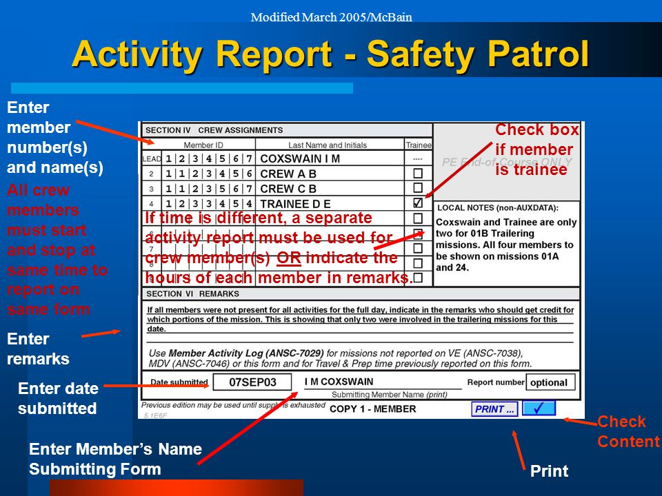 Modified March 2005/McBain Activity Report - Safety Patrol Print Check box if member is trainee Enter remarks Enter date submitted Check Content Enter member number(s) and name(s) All crew members must start and stop at same time to report on same form If time is different, a separate activity report must be used for crew member(s) OR indicate the hours of each member in remarks.