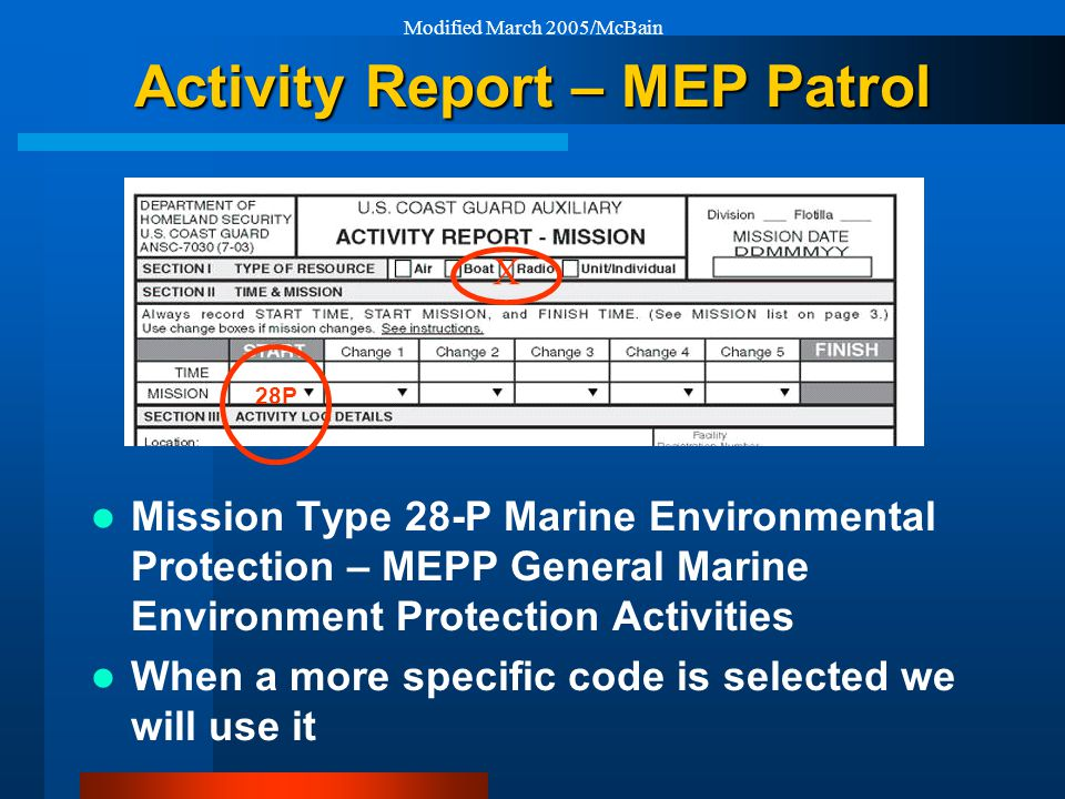 Modified March 2005/McBain X 28P Activity Report – MEP Patrol Mission Type 28-P Marine Environmental Protection – MEPP General Marine Environment Protection Activities When a more specific code is selected we will use it