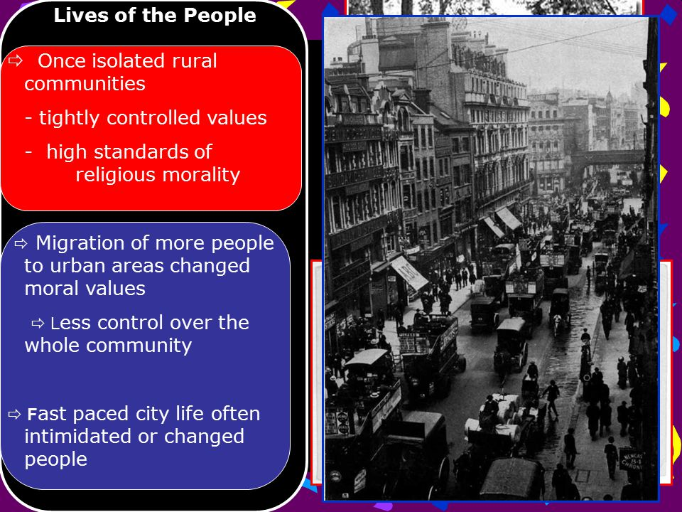 Lives of the People  Once isolated rural communities - tightly controlled values - high standards of religious morality  Migration of more people to urban areas changed moral values  L ess control over the whole community  F ast paced city life often intimidated or changed people