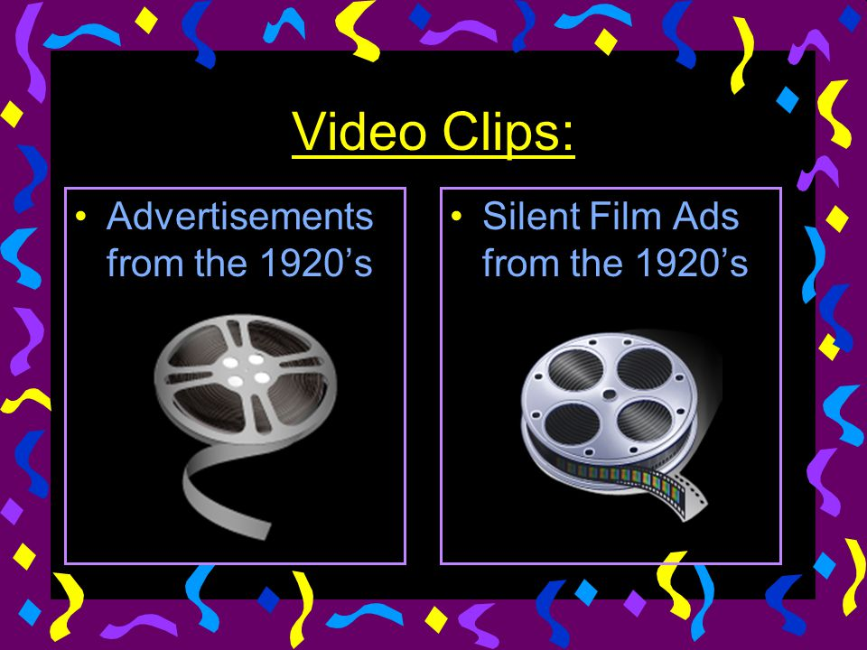 Video Clips: Advertisements from the 1920's Silent Film Ads from the 1920's