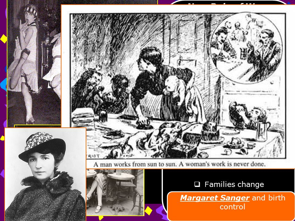 New Role of Women  Victorian Age view of women  F lapper was a young women of modern times hair styles, dress, attitudes, behavior  D ouble standard of behavior  C lash of conservative values  Opportunities increase  F amilies change Margaret Sanger and birth control