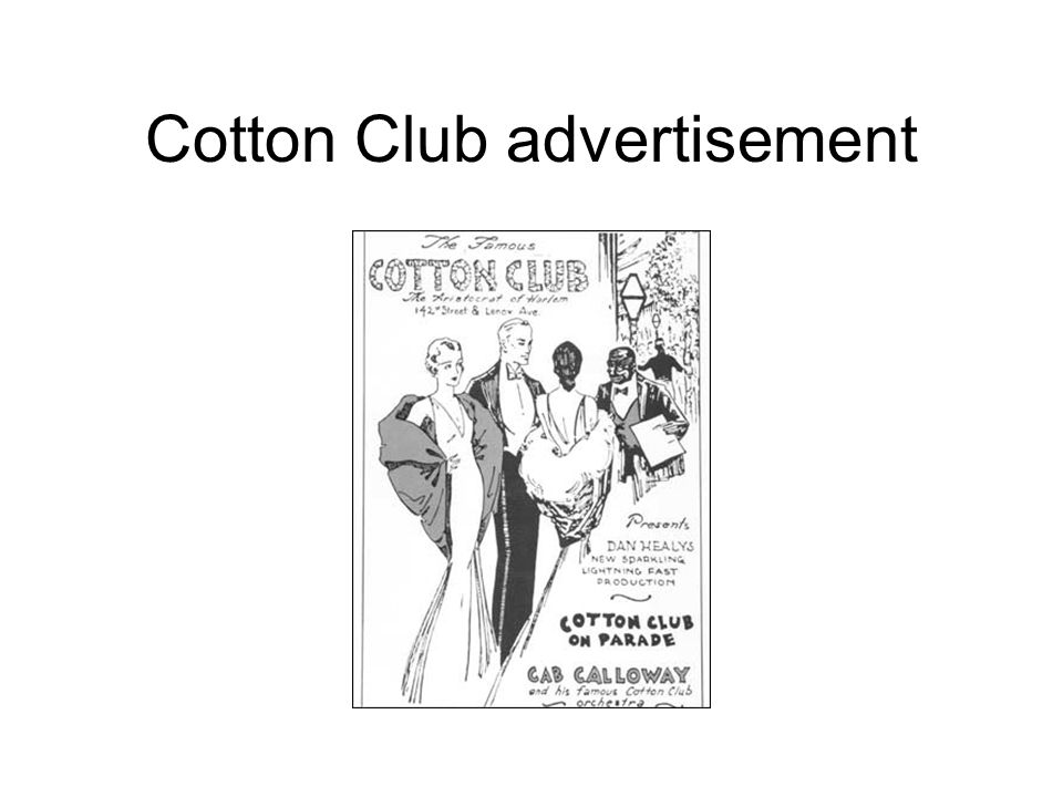 Cotton Club advertisement
