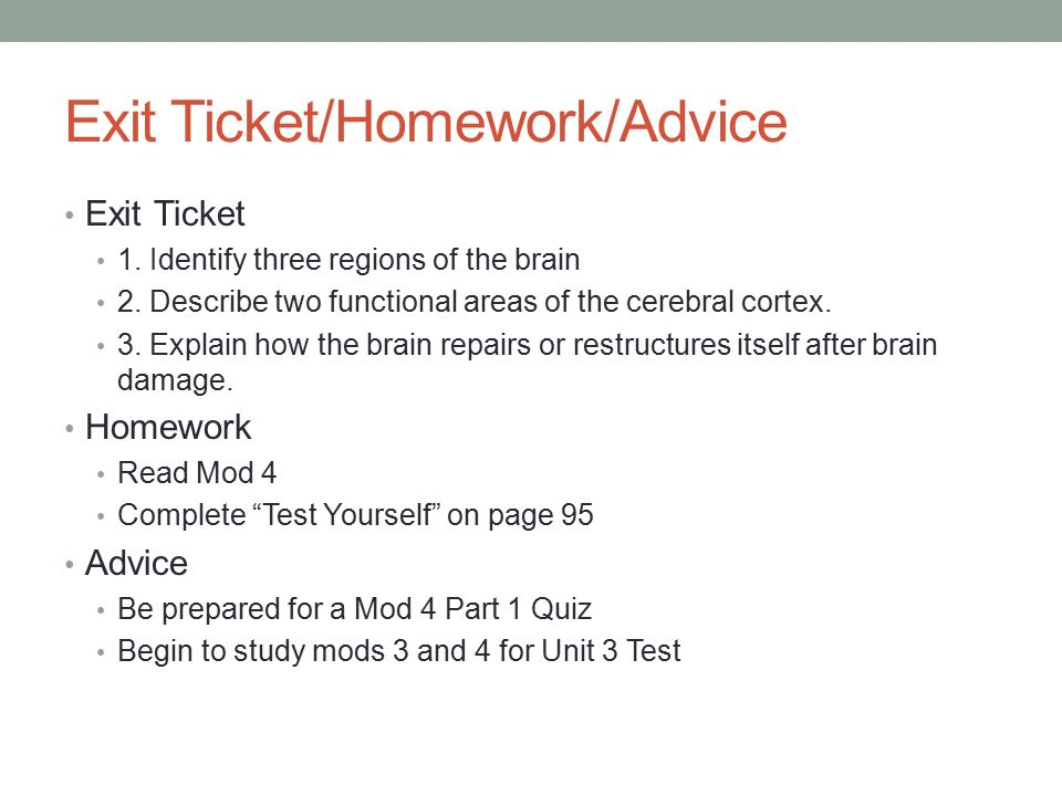 Exit Ticket/Homework/Advice Exit Ticket 1. Identify three regions of the brain 2.