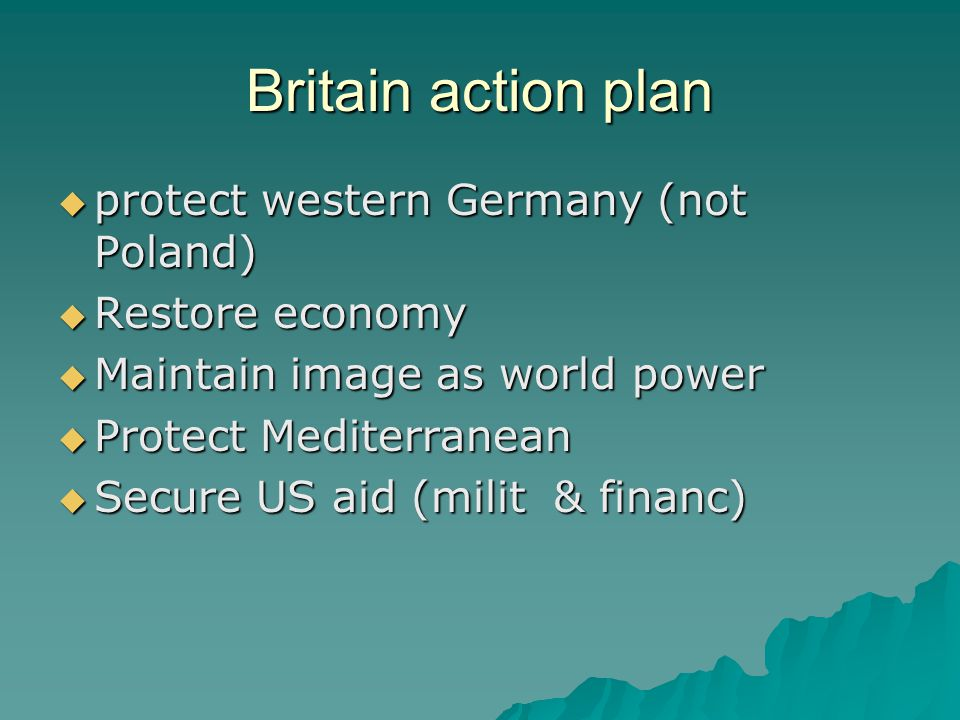 Britain action plan  protect western Germany (not Poland)  Restore economy  Maintain image as world power  Protect Mediterranean  Secure US aid (milit & financ)