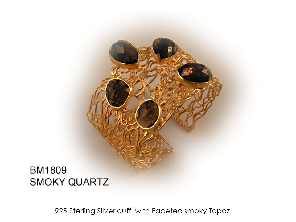 925 Sterling Silver cuff with Faceted smoky Topaz