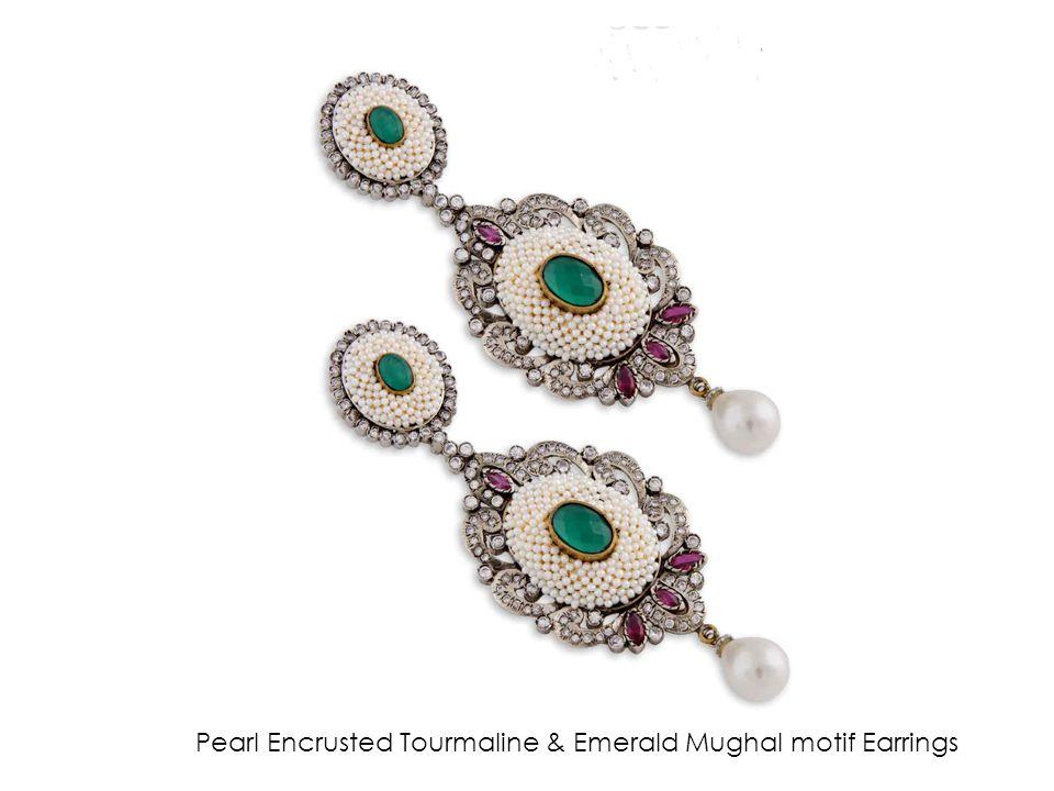 Pearl Encrusted Tourmaline & Emerald Mughal motif Earrings