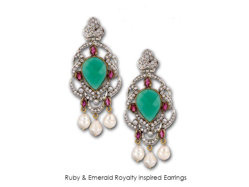 Ruby & Emerald Royalty Inspired Earrings
