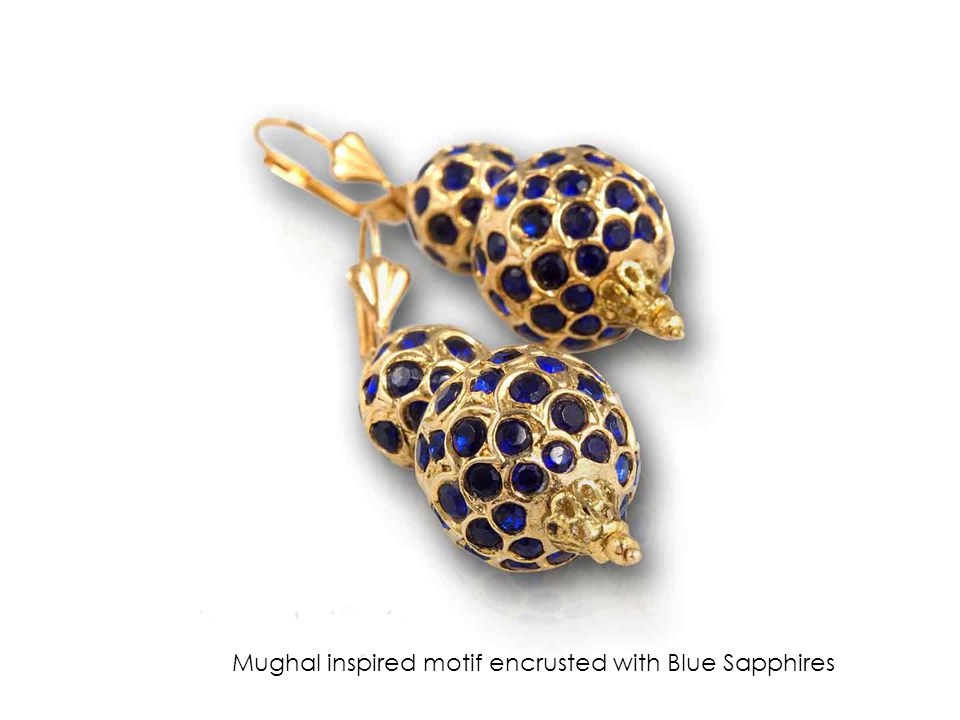 Mughal inspired motif encrusted with Blue Sapphires