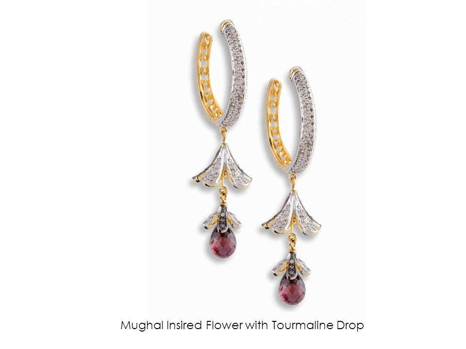 Mughal Insired Flower with Tourmaline Drop