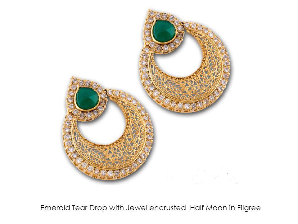 Emerald Tear Drop with Jewel encrusted Half Moon in Filgree