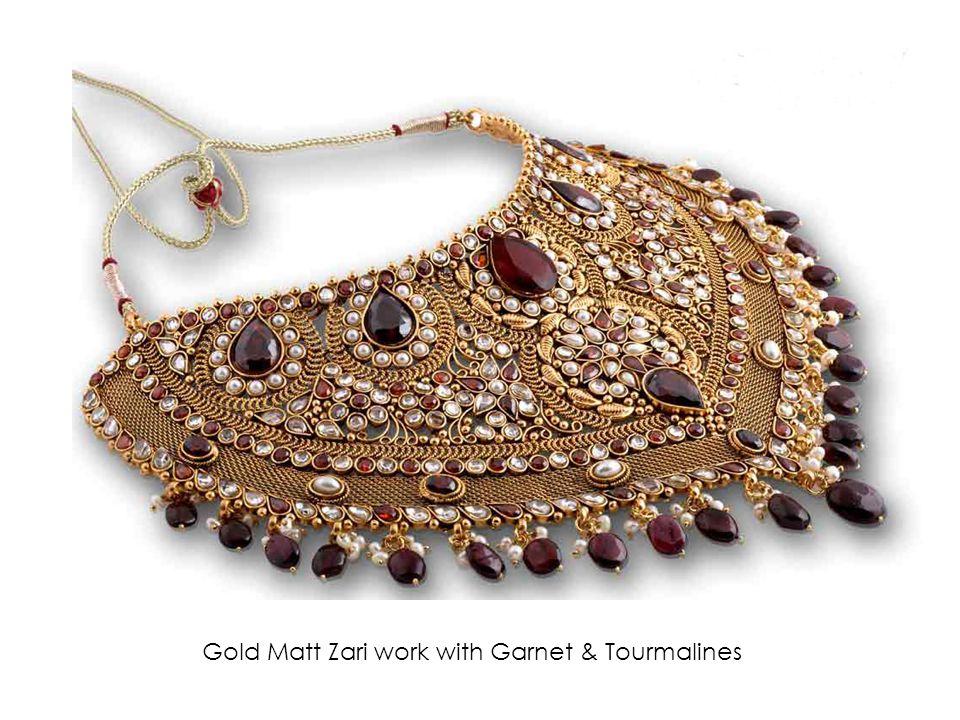 Gold Matt Zari work with Garnet & Tourmalines