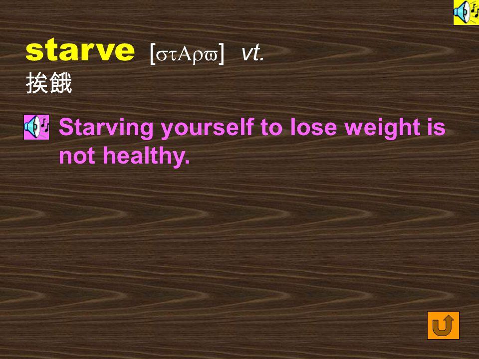Words for Production 9. starvation [ stAr`veS1n ] n.