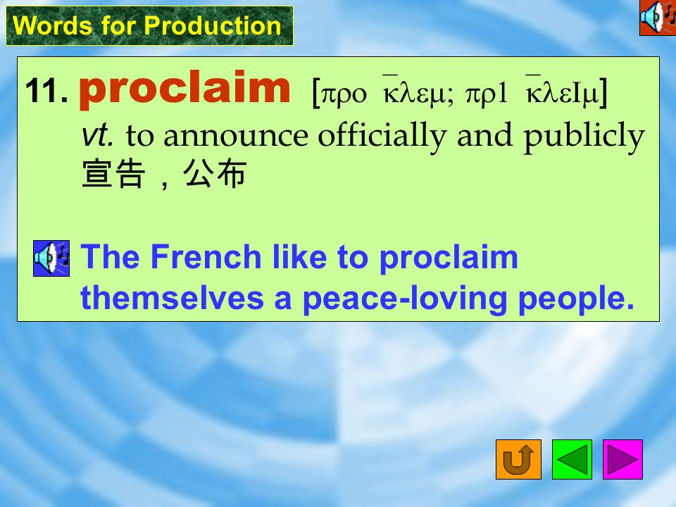 Words for Production 10. governor [ `G^v2n2 ] n.