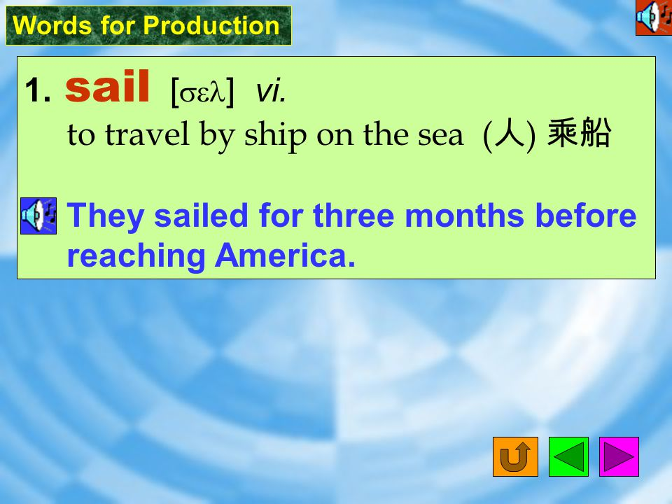 Words for Production 1.sail [ sel ] vi.