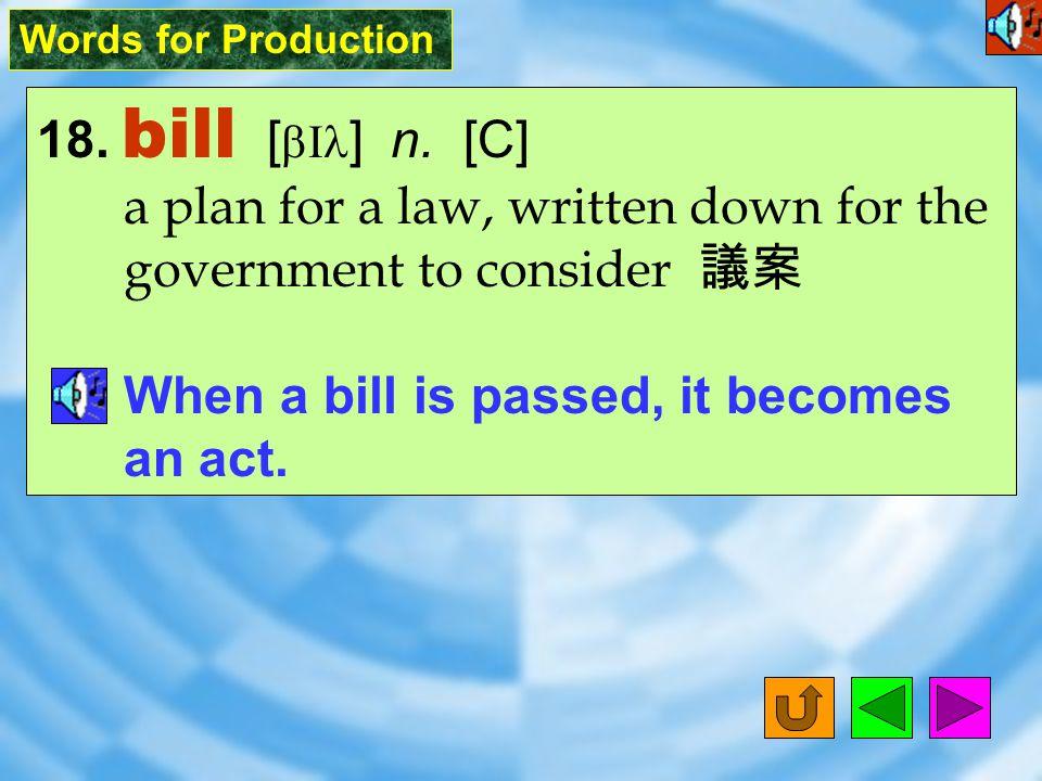 Words for Production 17. president [ `prEz1d1nt ] n.