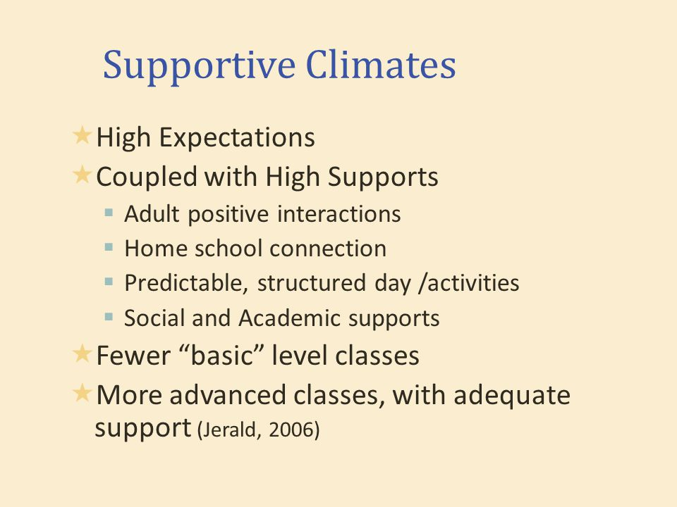 Supportive Climates  High Expectations  Coupled with High Supports  Adult positive interactions  Home school connection  Predictable, structured day /activities  Social and Academic supports  Fewer basic level classes  More advanced classes, with adequate support (Jerald, 2006)