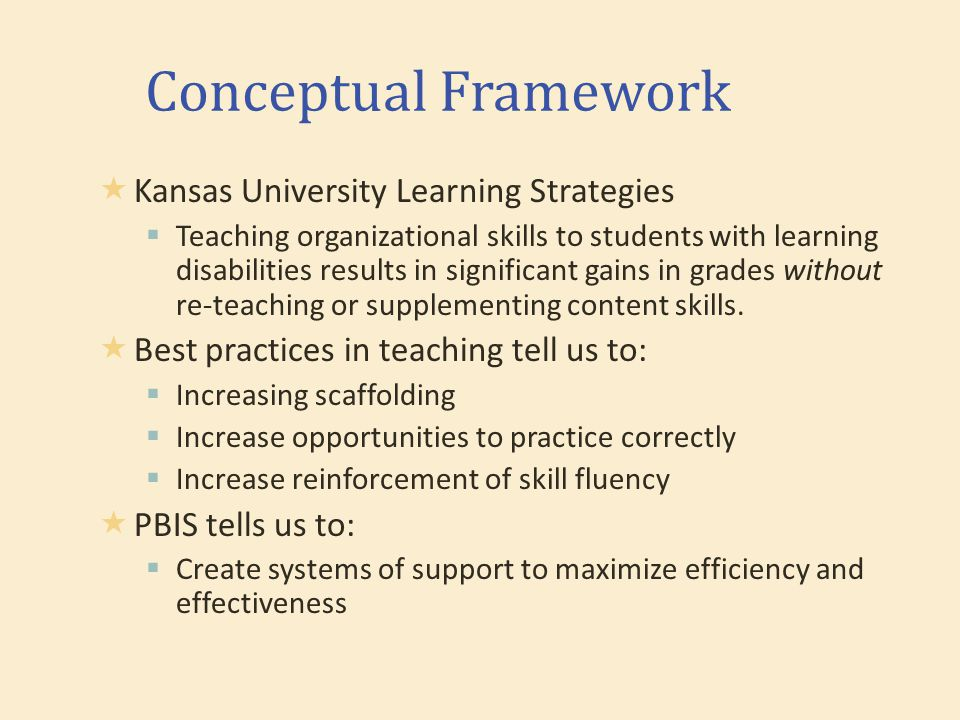 Conceptual Framework  Kansas University Learning Strategies  Teaching organizational skills to students with learning disabilities results in significant gains in grades without re-teaching or supplementing content skills.