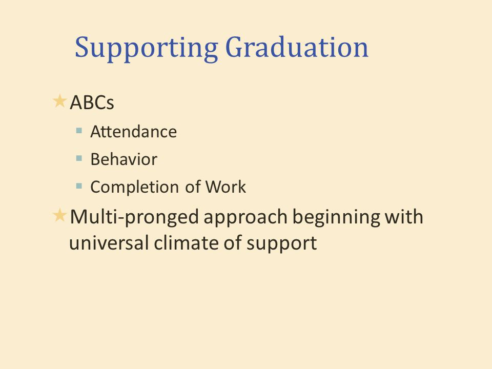 Supporting Graduation  ABCs  Attendance  Behavior  Completion of Work  Multi-pronged approach beginning with universal climate of support