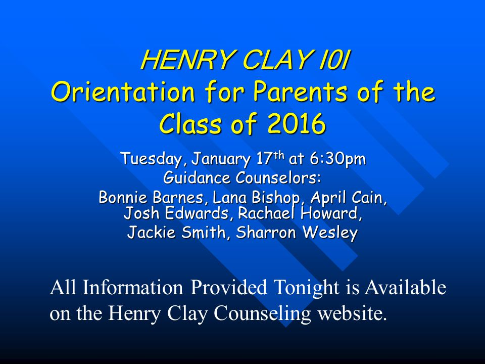 *Henry Clay serves about 2300 students in grades 9-12.