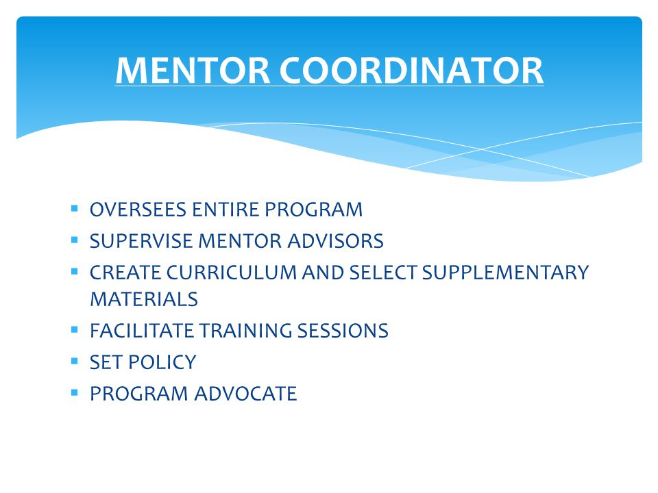  OVERSEES ENTIRE PROGRAM  SUPERVISE MENTOR ADVISORS  CREATE CURRICULUM AND SELECT SUPPLEMENTARY MATERIALS  FACILITATE TRAINING SESSIONS  SET POLICY  PROGRAM ADVOCATE MENTOR COORDINATOR