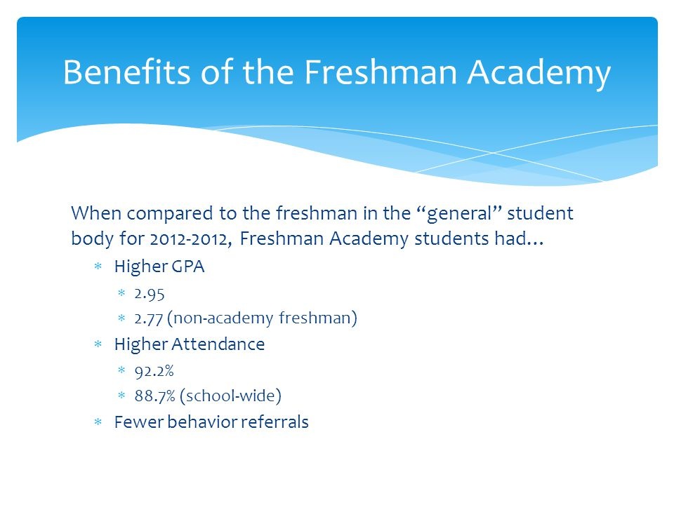 When compared to the freshman in the general student body for 2012-2012, Freshman Academy students had…  Higher GPA  2.95  2.77 (non-academy freshman)  Higher Attendance  92.2%  88.7% (school-wide)  Fewer behavior referrals Benefits of the Freshman Academy