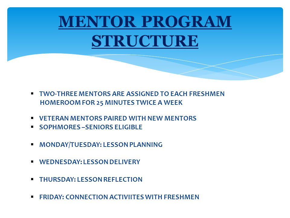  TWO-THREE MENTORS ARE ASSIGNED TO EACH FRESHMEN HOMEROOM FOR 25 MINUTES TWICE A WEEK  VETERAN MENTORS PAIRED WITH NEW MENTORS  SOPHMORES –SENIORS ELIGIBLE  MONDAY/TUESDAY: LESSON PLANNING  WEDNESDAY: LESSON DELIVERY  THURSDAY: LESSON REFLECTION  FRIDAY: CONNECTION ACTIVIITES WITH FRESHMEN MENTOR PROGRAM STRUCTURE