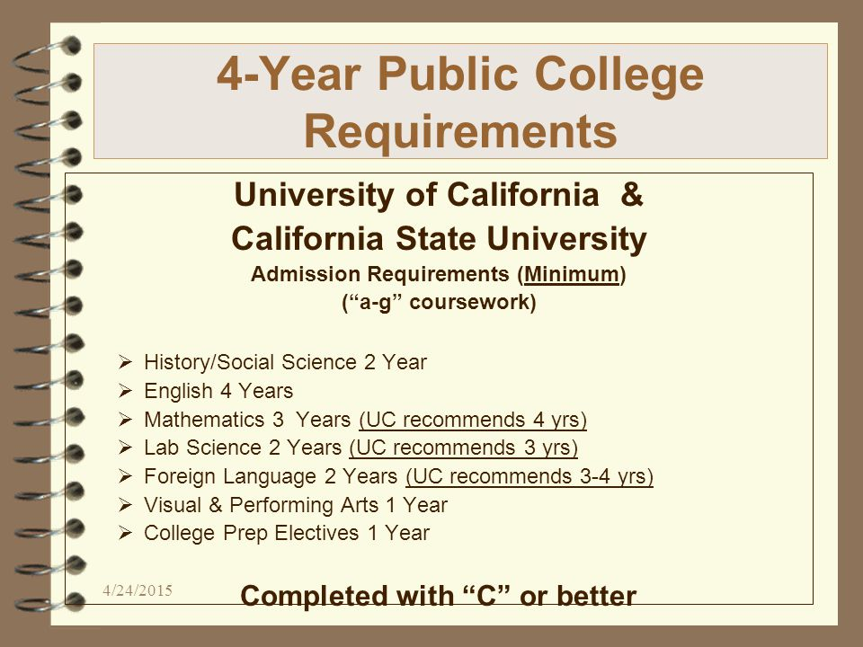 4-Year Public College Requirements University of California & California State University Admission Requirements (Minimum) ( a-g coursework)  History/Social Science 2 Year  English 4 Years  Mathematics 3 Years (UC recommends 4 yrs)  Lab Science 2 Years (UC recommends 3 yrs)  Foreign Language 2 Years (UC recommends 3-4 yrs)  Visual & Performing Arts 1 Year  College Prep Electives 1 Year Completed with C or better 4/24/2015