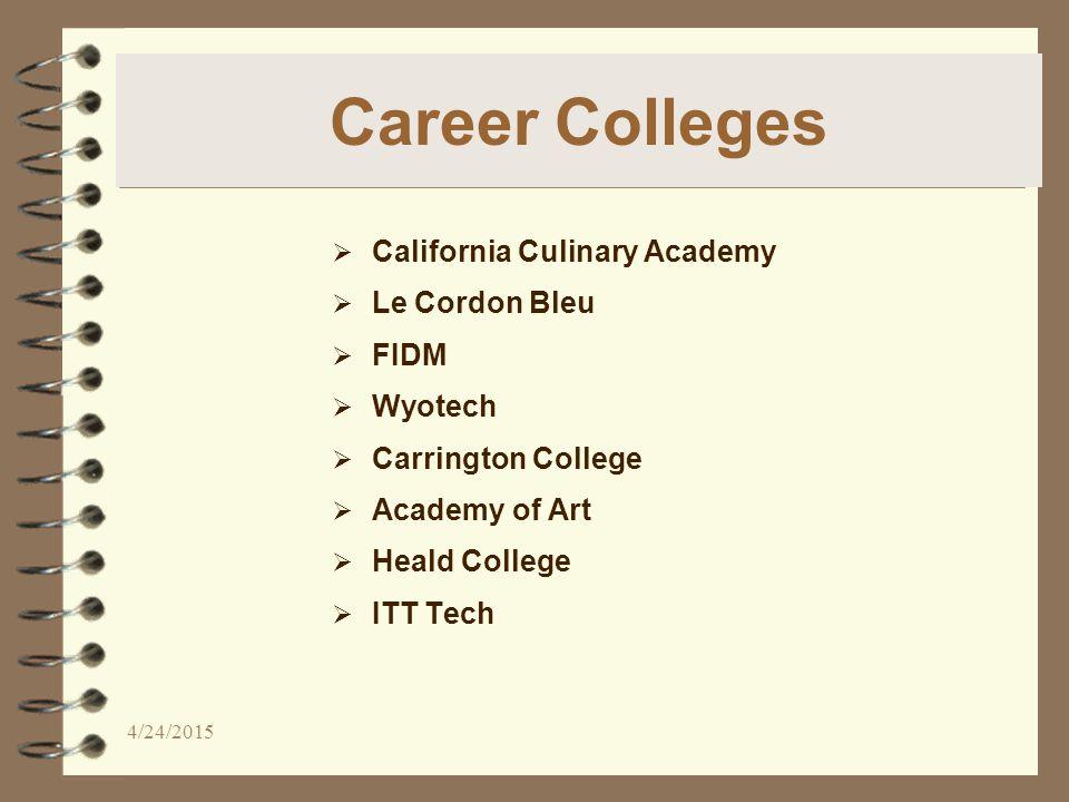 Career Colleges  California Culinary Academy  Le Cordon Bleu  FIDM  Wyotech  Carrington College  Academy of Art  Heald College  ITT Tech 4/24/2015