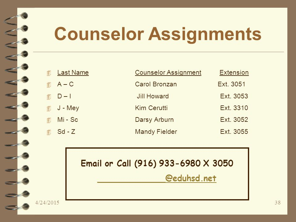 Counselor Assignments 4 Last Name Counselor Assignment Extension 4 A – C Carol Bronzan Ext.