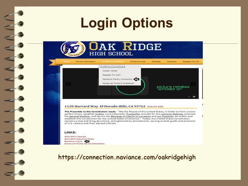 Login Options https://connection.naviance.com/oakridgehigh