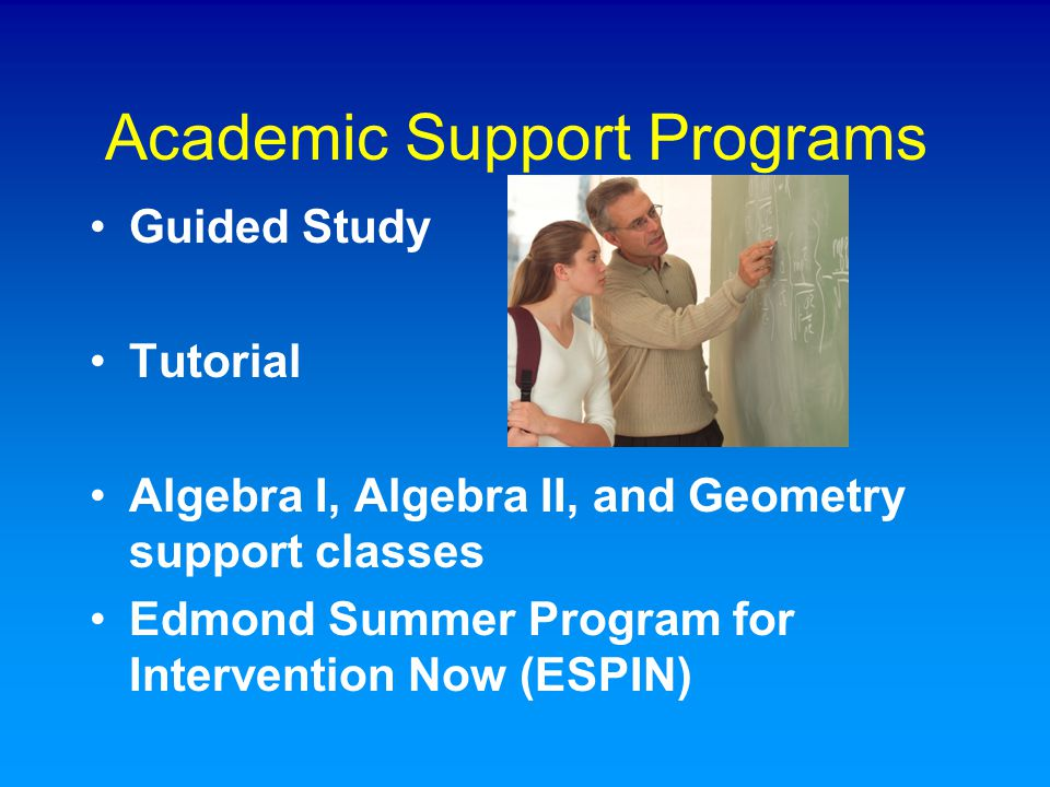 Academic Support Programs Guided Study Tutorial Algebra I, Algebra II, and Geometry support classes Edmond Summer Program for Intervention Now (ESPIN)