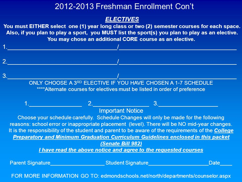 2012-2013 Freshman Enrollment Con't ELECTIVES You must EITHER select one (1) year long class or two (2) semester courses for each space. Also, if you
