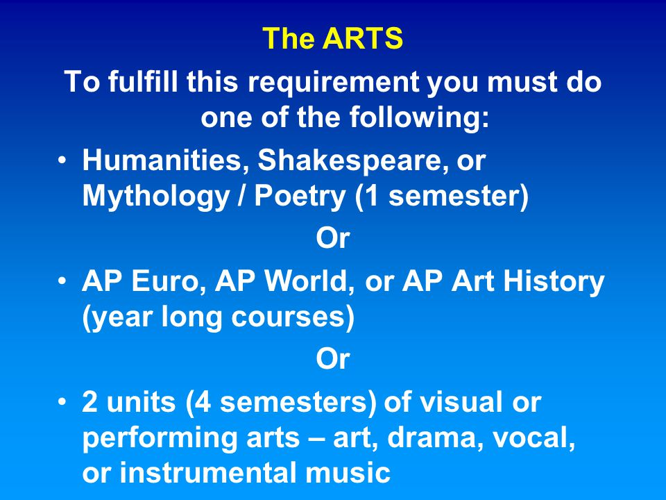 The ARTS To fulfill this requirement you must do one of the following: Humanities, Shakespeare, or Mythology / Poetry (1 semester) Or AP Euro, AP Worl