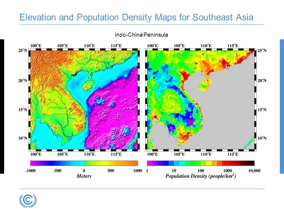 Elevation and Population Density Maps for Southeast Asia Indo-China Peninsula