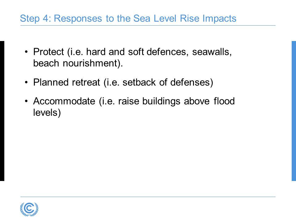 Step 4: Responses to the Sea Level Rise Impacts Protect (i.e. hard and soft defences, seawalls, beach nourishment). Planned retreat (i.e. setback of d