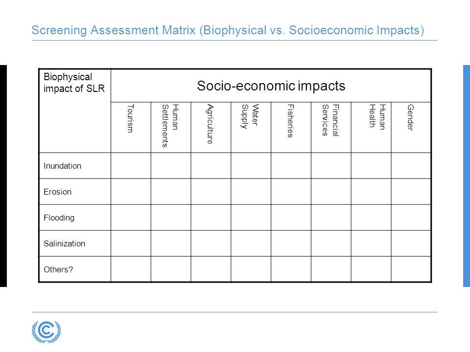 Screening Assessment Matrix (Biophysical vs. Socioeconomic Impacts) Biophysical impact of SLR Socio-economic impacts Tourism HumanSettlements Agricult