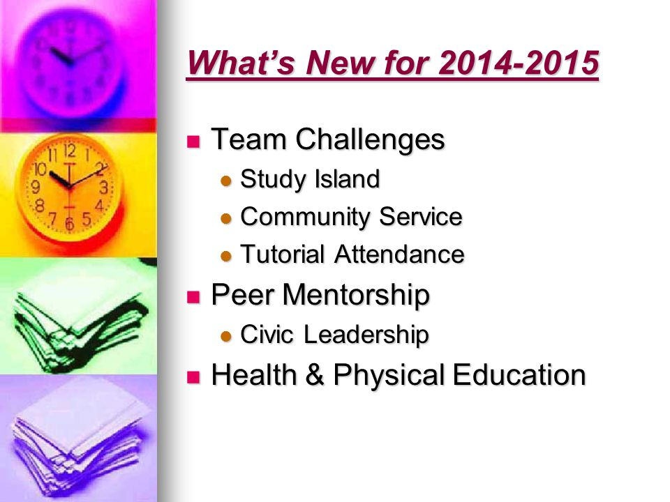 What's New for 2014-2015 Team Challenges Team Challenges Study Island Study Island Community Service Community Service Tutorial Attendance Tutorial Attendance Peer Mentorship Peer Mentorship Civic Leadership Civic Leadership Health & Physical Education Health & Physical Education