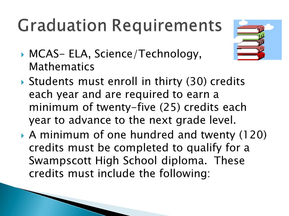  MCAS- ELA, Science/Technology, Mathematics  Students must enroll in thirty (30) credits each year and are required to earn a minimum of twenty-five (25) credits each year to advance to the next grade level.