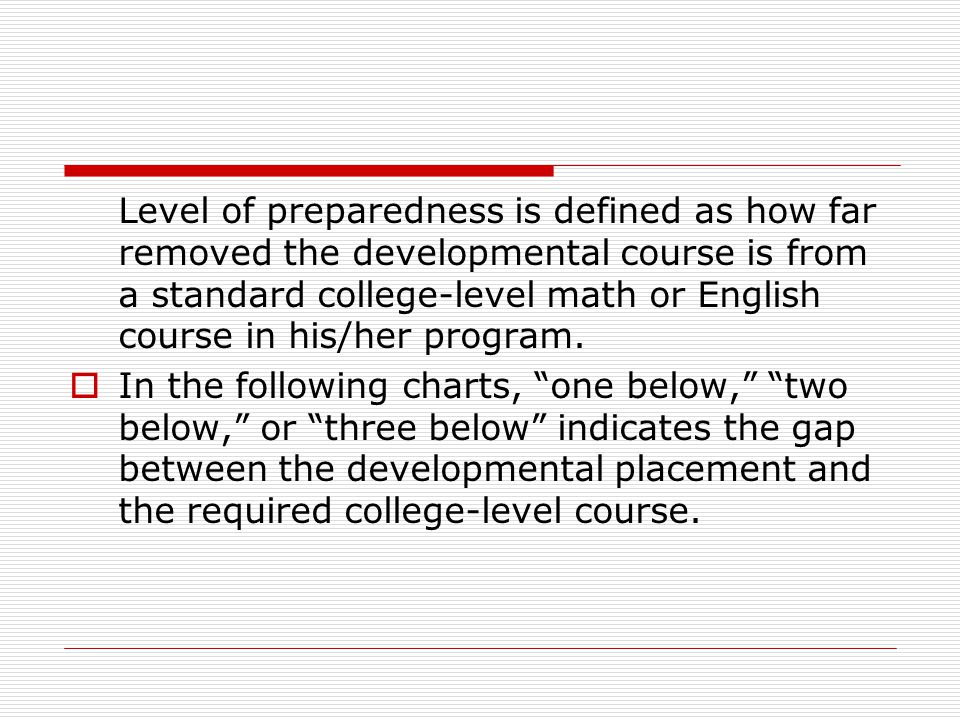 Level of preparedness is defined as how far removed the developmental course is from a standard college-level math or English course in his/her program.