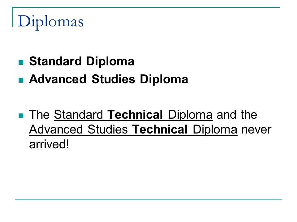 Diplomas Standard Diploma Advanced Studies Diploma The Standard Technical Diploma and the Advanced Studies Technical Diploma never arrived!