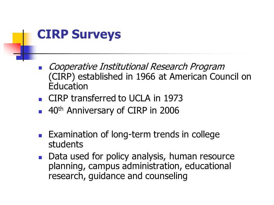 CIRP Surveys Cooperative Institutional Research Program (CIRP) established in 1966 at American Council on Education CIRP transferred to UCLA in 1973 40 th Anniversary of CIRP in 2006 Examination of long-term trends in college students Data used for policy analysis, human resource planning, campus administration, educational research, guidance and counseling