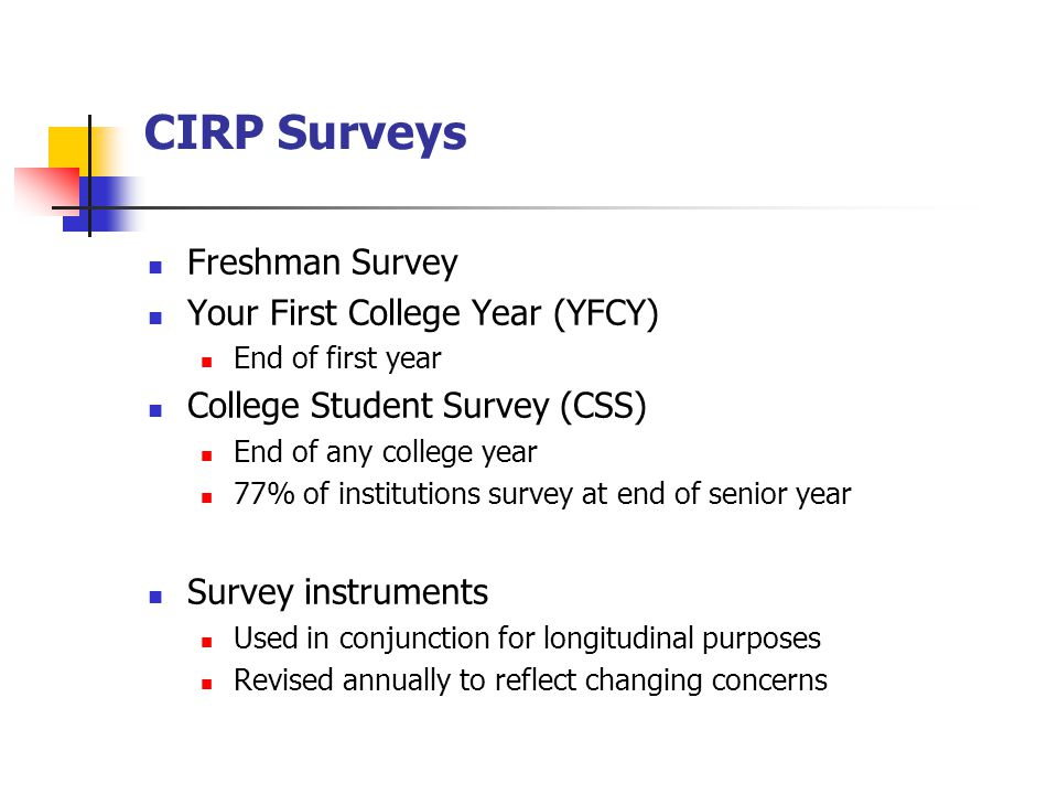 CIRP Surveys Freshman Survey Your First College Year (YFCY) End of first year College Student Survey (CSS) End of any college year 77% of institutions survey at end of senior year Survey instruments Used in conjunction for longitudinal purposes Revised annually to reflect changing concerns