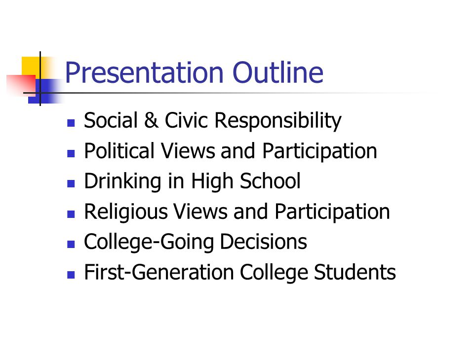 Presentation Outline Social & Civic Responsibility Political Views and Participation Drinking in High School Religious Views and Participation College-Going Decisions First-Generation College Students