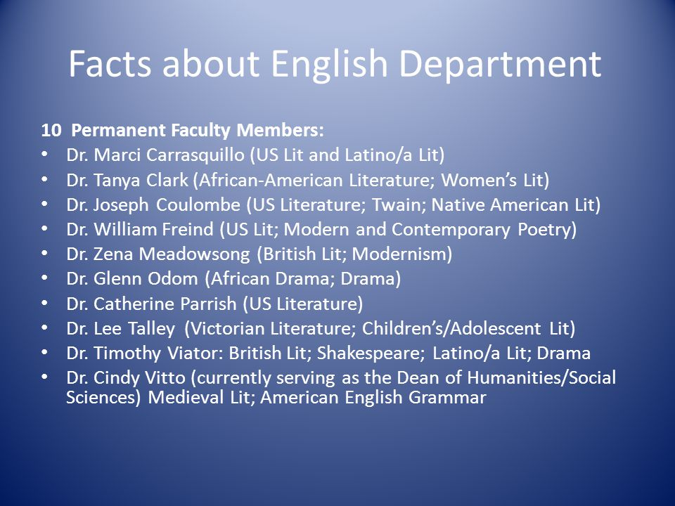 Temporary Faculty 2012/2013: Dr.Melinda DiStefano: US Lit (3/4 time) Ms.