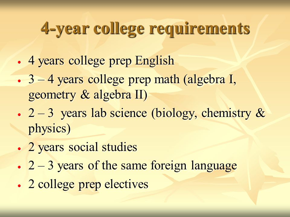 4-year college requirements  4 years college prep English  3 – 4 years college prep math (algebra I, geometry & algebra II)  2 – 3 years lab science (biology, chemistry & physics)  2 years social studies  2 – 3 years of the same foreign language  2 college prep electives