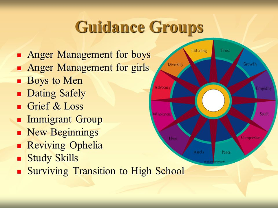 Guidance Groups Anger Management for boys Anger Management for boys Anger Management for girls Anger Management for girls Boys to Men Boys to Men Dati