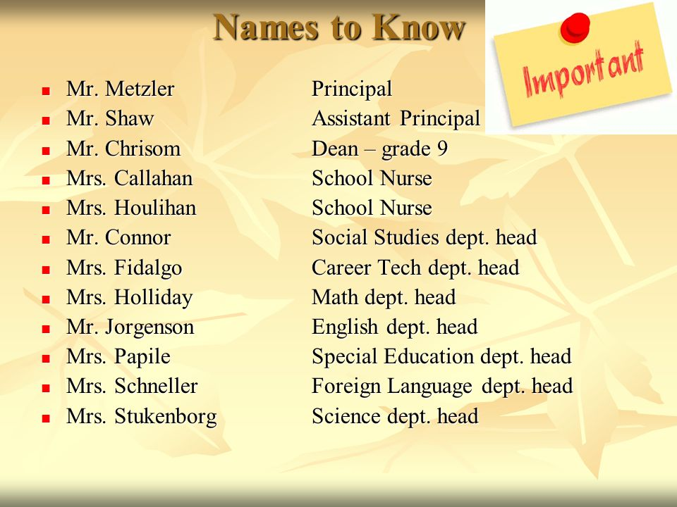 Names to Know Mr. MetzlerPrincipal Mr. MetzlerPrincipal Mr. ShawAssistant Principal Mr. ShawAssistant Principal Mr. Chrisom Dean – grade 9 Mr. Chrisom