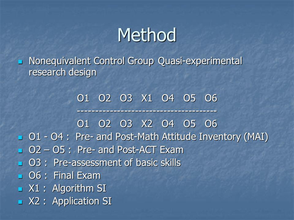 Method Nonequivalent Control Group Quasi-experimental research design Nonequivalent Control Group Quasi-experimental research design O1 O2 O3 X1 O4 O5 O6 --------------------------------------- O1 O2 O3 X2 O4 O5 O6 O1 - O4 : Pre- and Post-Math Attitude Inventory (MAI) O1 - O4 : Pre- and Post-Math Attitude Inventory (MAI) O2 – O5 : Pre- and Post-ACT Exam O2 – O5 : Pre- and Post-ACT Exam O3 : Pre-assessment of basic skills O3 : Pre-assessment of basic skills O6 : Final Exam O6 : Final Exam X1 : Algorithm SI X1 : Algorithm SI X2 : Application SI X2 : Application SI