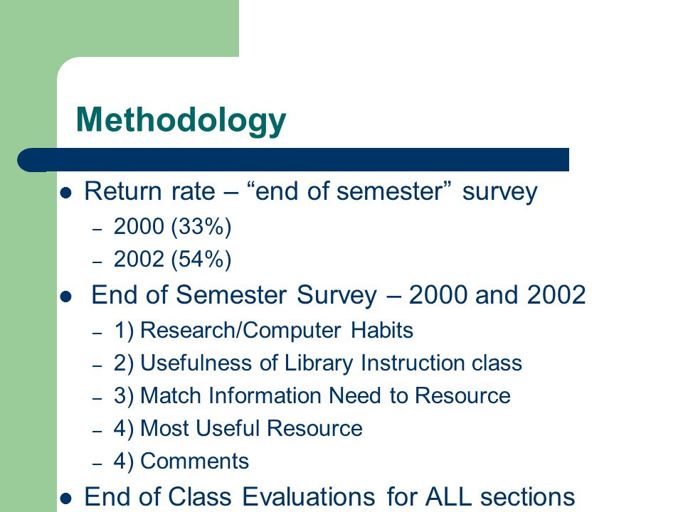 Methodology Return rate – end of semester survey – 2000 (33%) – 2002 (54%) End of Semester Survey – 2000 and 2002 – 1) Research/Computer Habits – 2) Usefulness of Library Instruction class – 3) Match Information Need to Resource – 4) Most Useful Resource – 4) Comments End of Class Evaluations for ALL sections